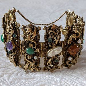 Antique Victorian Bracelet Dragons/Coral/Pearls